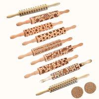 Pin de roulement en bois gaufrage avec motif de fleurs de flocon de neige de Noël pour cuisson de biscuits en relief, enfants et adultes