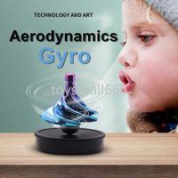 Mais recente tiktok crianças adultos aerodinâmica giroscópio pneumático brinquedo de descompressão vento soprando giroscópio pneumático spinning top fy9380