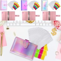 Notepads A6 Notebook Binder Cover 12pcs Pockets 6-ring Budget Loose Leaf Zipper Bags 30pcs Self-adhesive Label Stickers
