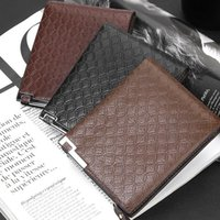 Wallets Multifunction Mens PU Leather Zipper Business Wallet Card Holder Pocket Purse Man Plaid Pounch Casual 3 Colors