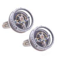 Elmas Turbillon Hareketi 1 Çift Erkek Düğün Mekanik İzle Dişli Gömlek için Set Manşet Kol Takım Kol Düğmeleri