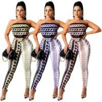 Cadena impresa sexy Dos piezas pantalón trajes Ropa de las mujeres del hombro Tops de la cosecha sin respaldo y lápiz Legging Streetwear Equipo