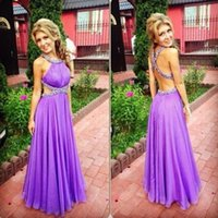 A Line Halter Beaded Pleats Long Chiffon Evening Dress Cutaway Sides Floor Length Prom Party Gown Custom Made Plus Size
