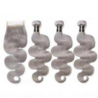 Graues Haar mit Spitzenverschluss Spleis graue Haarverlängerungen Jungfrau Brasilianisches menschliches Haar 3 Bundles beschäftigt sich mit Spitzenverschluss