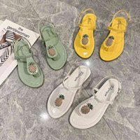Pineapple Sandals And Slippers Female Outer Wear Korean Version Of The 2020 Summer New Flip Flops Clip Toe Sandals Anti Slip Silver Wedges