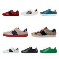 [С коробкой]Gucci Ace series white shoes пчела зеленые красные полосы мужчин женщин кроссовки повседневные туфли вечеринка тренд туз модный обувь ходьбы тренажеры Chaussures