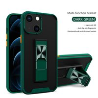 2 in 1 Phone Cases For iPhone 13 12 11 Pro Max XS XR 8 7 6S Plus PC+TPU Ring Hybrid Armor Kickstand Shockproof Case