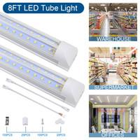 LED أنبوب ضوء، مصابيح متجر، 8ft 100W 10000LM، 6500K غطاء أبيض بارد الخامس الشكل، إخراج هايت، للمرآب، المستودع