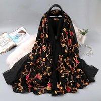 الأوشحة القطن التطريز النساء وشاح مسلم الحجاب جميلة الربيع سيدة شال ذا بيج منشفة تكييف الهواء