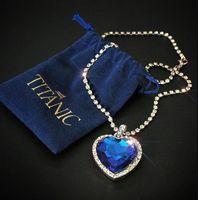 Ожерелья кулон Титаник Сердце океана Синяя любовь навсегда ожерелье + бархатная сумка