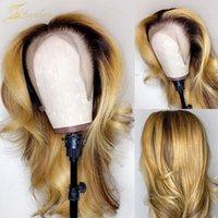 바디 웨이브 꿀 금발 컬러 인간의 머리 가발 옴 브레 1B 27 HD 투명 레이스 흑인 여성을위한 전면 가발 전체 정면