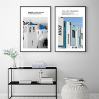 Peintures Scandinave Blue Building Wall Art Affiche Européenne Belle Paysage Toile Peinture Moderne Galerie Salon Salon Décor