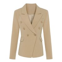Women's Wool & Blends Classic women's designer coat, button-studded blazer and metal buttons double breasted UHUY