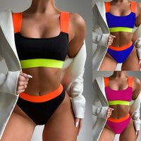 Women's Swimwear Crop Top High Waisted Cheeky Bikini Sets Sports Wide Straps Padded Bandeau Color Block Swimsuit Scoop Neck Bathing Suits