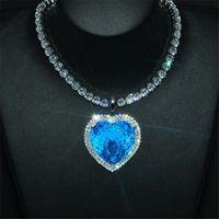 Ins över sälja oändlighet brannd lyx smycken 925 sterling silver hav hjärta hänge 18k vitguld fyllning aquamarine cz diamant kvinnor bröllop clavicle halsband gåva