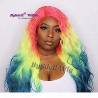 premium natural fibra cabelo peruca peluca três tom vermelho ombre amarelo amarelo cor cabelo lace dianteira peruca solta arco-íris colorido wigs