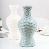 Nordic Ev Plastik Vazo Beyaz Rattan Tasarım Modern Basit El Sanatları Süs Ev Kız Yatak Odası Dekor Düğün Çiçek Sepeti