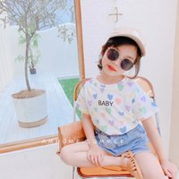 Girls Heart Tops+Denim Pants Outfits Summer 2021 Kids Boutique Clothing Korean 2-7T Girls Short Sleeves T-Shirts 2 PC Set