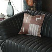 Lattice Pillowcase Simple Letters H Decorative Cushion Cover Home Decoration Products Sofa Car Chair Pillow Case 45x45cm