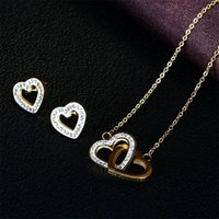 Earrings & Necklace Stainless Steel Crystal Heart Elegant Bridal Female Gift Jewelry Sets Gold Color Chain Hollow Necklaces&Earrings