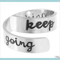 Keep Fucking Going Inspirational Rings Lovers Gift Women Men Friends Stainless Steel Black Rose Gold Open Ring 9U4Ic Orv5E