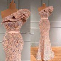 Party Dresses Sequined Mermaid Prom One Shoulder Ruffles Floor Length Formal Dress Evening Wear Vestido De Festa