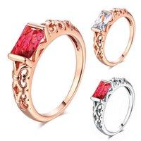 Trouwringen Fashion Cubic Zirkoon Ring Hollow Rose Gold Silver Big Red White Crystal for Women Engagement Party Sieraden Geschenken