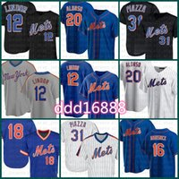 12 Francisco Lindor Yeni Custom York Beyzbol Forması 20 Pete Alonso 18 Darryl Çilek 31 Mike Piazza 16 Dwight Gooden 48 Degrom Beyaz