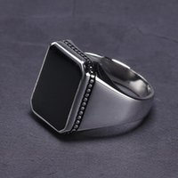 Cluster Rings Real Solid 925 Sterling Silver Ring Simple For Men Imitated Black Stone Square Flat High Polishing Middle East Turkish Jewelry