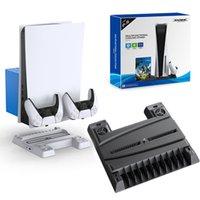 TP5-0593 Suporte multi-function para console PS5 Base de carregador de ventilador de refrigeração com o jogo Disco Storage P5 Controller Charging Dock