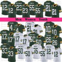 Hommes Femmes Jeunesse Football 12 Aaron Rodgers 33 Jones 17 Davante Adams 26 Darnell Savage Jerseys 21 Eric Stokes Alexander 55 Za'darius Smith 10 Love Jersey