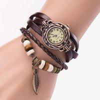 Relojes de pulsera Vintage Tejido Pulsera Reloj Montra Montre Femme Relogio Feminino PU Reloj de cuero Brazalete Colgante de hoja # LR2
