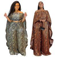 Mulheres duas peças calças 2 conjunto mulheres África Roupas África Dashiki Moda Terno Long Tops + Grande Partido Plus Size para Lady
