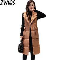 Gilets pour femmes Zvaqs Automne et hiver Gilet Femmes 2021 Mode Coton Long Looth Femme Gilet Sans Manches manches Gilet Femme ST330
