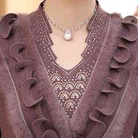 Donne di cachemire femminile di lana Plus Size ricamo diamante diamante - bordato maglione di pelliccia di natale vecchio pullover madre