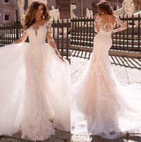 Sexy White Lace Mermaid Wedding Dresses New Sheer Mesh Top Long Sleeves Applique Bridal Gowns With Detachable Skirt Vestidos De Soiree 2022