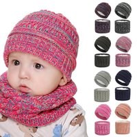 Caps & Hats Baby Hat Collar Two-piece Plus Velvet Thickening Scarf Thickened Kids Girls Boys Winter Warm Knit Accessories