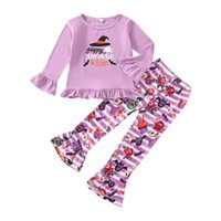 Halloween Kids Clothing Sets Girls Outfits Baby Clothes Children Suits Autumn Winter Print Cotton Long Sleeve T-shirts Flared Trousers Tights leggings 2Pcs B7604