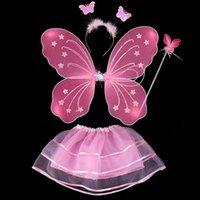 4 шт. Детские девушки фея принцессы костюм красочные сценические носить бабочки крылья палочки повязки губщики WD02 A Y0219