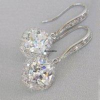 HotNew Trendy Luxury Silver Color Quadrato Drop Orecchino da sposa Accessori da sposa Brush Zircone Stone Elegante Gioielli Donne