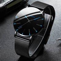 2021 Минималистский мужской моды Ультра тонкие часы Простые мужские Бизнес Нержавеющая Сталь Сетка Сетка Кварцевые Часы Relogio Masculino