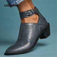 LASPERAL Faux Wildlederstiefel Frauen Mode Daily Chunky Ferse Zip Schuhe Atmungsaktiv Weibliche Bequeme Schuhe Frühling PU Leder 74Y1 #