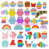 DHL Tiktok Rainbow Push Bubble IT Fidge Sensory Toys Приветные подчеркивает стресс Средства рельефные игрушки без рельефных игрушек для детей день рождения подарки флуоресценции