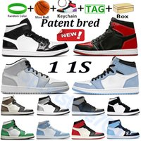 Mit Box Patent gezüchtet 1s 1S Trend Basketball Schuhe Universität Blau High Dark Mokka Mid Light Smoke Grau Silber Zeh Schatten Männer Frauen Sport Sneaker Outdoor Trainer