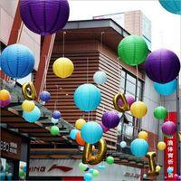 Neue Ankunft 10 stücke 8inch 20 cm chinesische runde papier laterne hängende lampion papier ball hochzeit dekor glime led lampe 12 farben