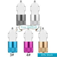 Stock DHL DHL Spedizione gratuita Caricabatteria da auto in metallo Adattatore di viaggio 2 Ports Colorful Micro USB Auto Plug Adattatore USB per Nota 8 Pacchetto opp