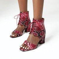 Dress Shoes Women Stylish Print Sandals Boots Peep Toe Buckle Strap Summer High Heel Gladiator Woman Red Green Sandalias Mujer 2021