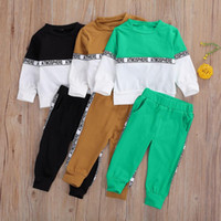 Clothing Sets Spring Autumn Baby Boys Clothes Letter Patchwork Long Sleeve Pullover Sweatshirt Tops Pants Sports Set Outfits