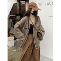 Little Junjun Britney Spears waffle cardigan women's autumn bright thread knitted jacket loose and thin sweater