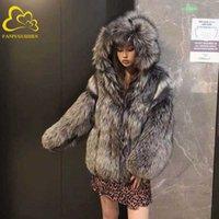 Fanpuguizhen faux fox casaco de pele de inverno jaqueta de pele falsa moda outwear grossa mulheres casaco mulheres c0925